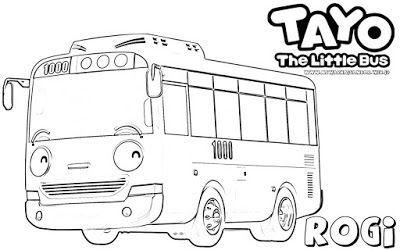 Mewarnai Gambar Karakter Rogi Tayo The Little Bus Tayo The Little Bus Little Bus Coloring Pages To Print