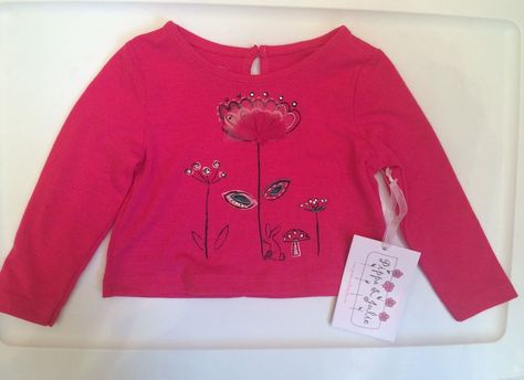 New With Tags Pink Embellished Longsleeve Top by Pippa & Julie 18month #PippaJulie