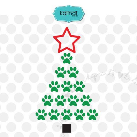 Dog paw Christmas Tree SVG, paw print svg, dog paws svg, paw svg, christmas dog paw svg, animal paw svg, christmas svg files.    cr20 by KalindiPrints on Etsy