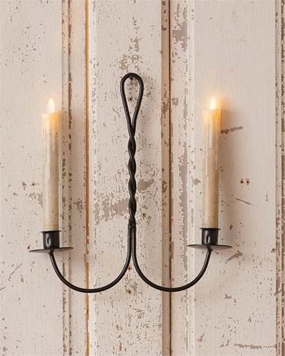 Vintage Black Wrought Iron Double Taper Candle Wall Sconce