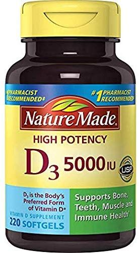 Nature Made Vitamin D3 5000 Iu Ultra Strength Softgels Value Size 220 Ct D Vitamin