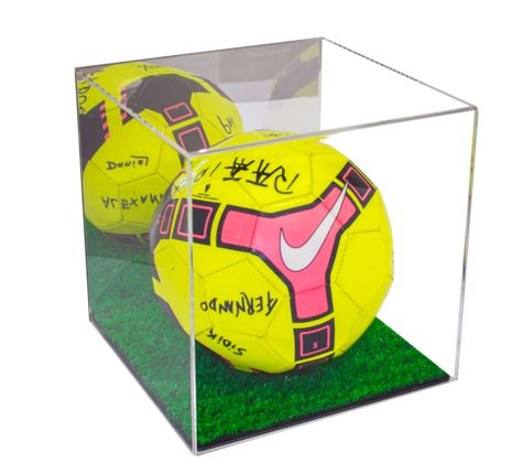 Soccer Ball Acrylic Display Case With Green Turf Floor And Mirror Better Display Cases 1 Acrylic Display Case Display Case Acrylic Display