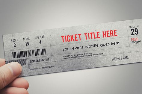 Stylish ticket template @creativework247 Cards Pinterest - entry ticket template