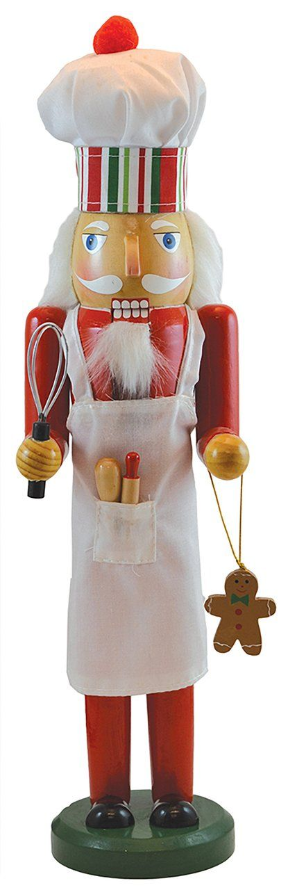 This collectible Nutcracker Baker is made of real wood, and hand painted and decorated with cloth apron and chef hat, gingerbread man, whisk and other utensils, fur, and amazing detail. It measures 15 inches tall making it a great eye catching piece to decorate your home for the holidays. Collect the whole series!