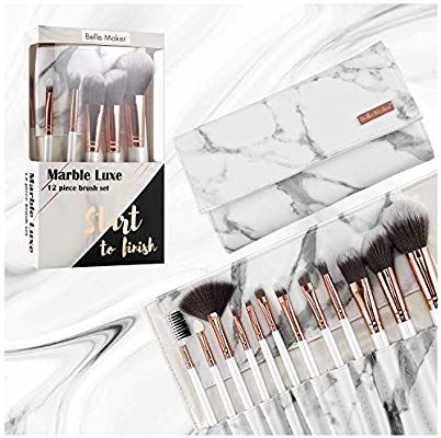 Amazon Com Marble Luxe Belle Maker Makeup Brushes 12pc Rose Gold Make Up Brushes Set With Professional Marblious Tra Makeup Brush Set Makeup Brushes Brush Set