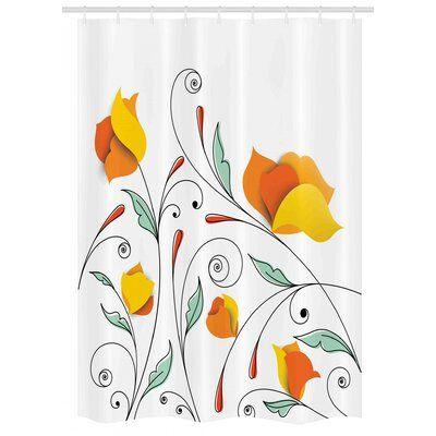 East Urban Home Stall Shower Curtain Single Hooks Size 54 W X