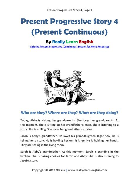 English ESL story in the Present Progressive Tense ...