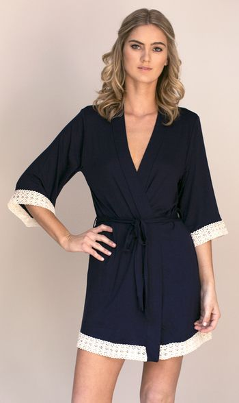 dd48dd387e9 B by Ted Baker Navy lace trim jersey wrap- at Debenhams Mobile | General |  Satin mini dress, Dresses, Navy lace