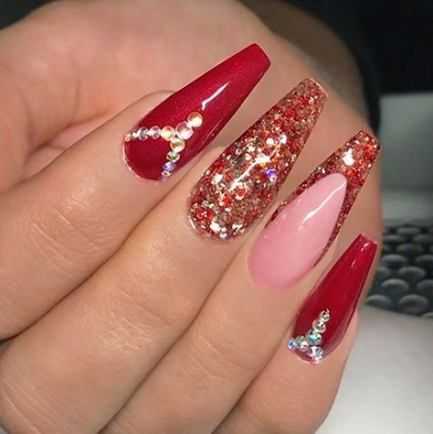 44 Ideas For Nails Red Design Glitter Nails Design Red Sparkly Nails Coffin Nails Designs Red Nails