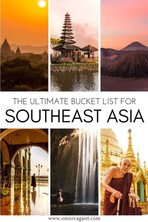 Traveling to Southeast Asia? Be sure to check out the ultimate Southeast Asia Bucket List! Everything you need to know to create a perfect Southeast Asia Travel Itinerary! Backpack Southeast Asia through some of the most amazing cities such as Bangkok, Kuala Lumpur, Hanoi or Singapore or admire the most amazing sunrises of Asia! From Mount Bromo in Indonesia to exploring temples in Myanmar, this bucket list has it all! #Southeastasia #indonesia #thailand #myanmar #vietnam #malaysia