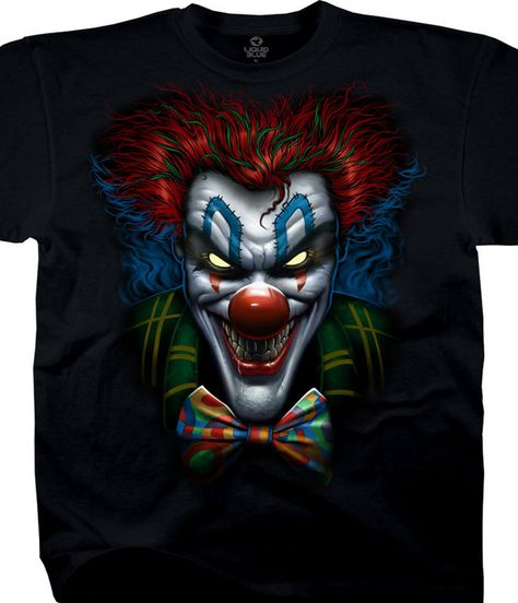 Liquid Blue Dark Fantasy Bow Tie Clown Black T-Shirt Tee.  Official Liquid Blue Fantasy Graphic T-Shirt, Tee, Tie-Dye designed, dyed and printed in the USA by Liquid Blue.