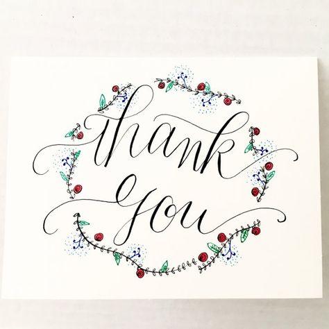 Kranz Dankeschön-Karte Hand beschriftet von writewithliz auf Etsy