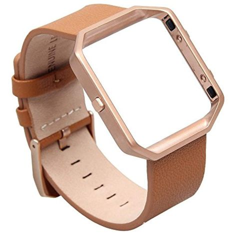 FitBit Blaze Leather Accessory Band  Stainless Steel Frame Camel Brown Large NEW