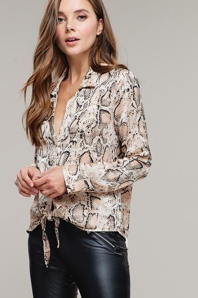 Spring Summer Fall Snake Floral Print Long Sleeve Women Casual Top Shirt Blouse
