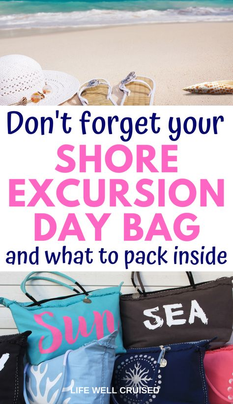 Everything you need to pack in your cruise shore excursion day bag.From beach excursions to sightseeing, here is what to bring.in your cruise port day bag. Cruise Excursions, Cruise Port, Shore Excursions, Cruise Travel, Cruise Vacation, Shopping Travel, Beach Travel, Honeymoon Cruise, Vacation Packing