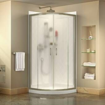 Durastall Square Sliding Shower Enclosure With Base Included With