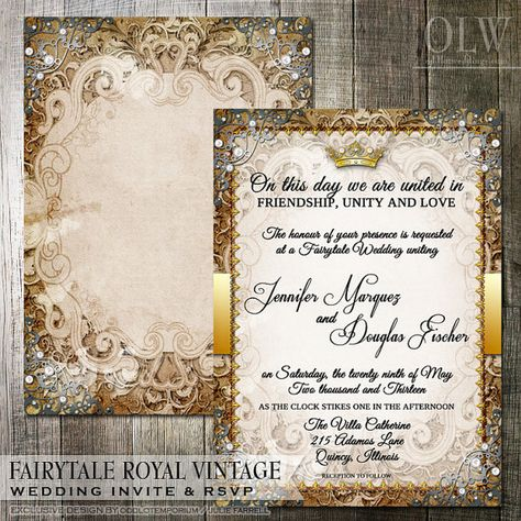Vintage Fairytale  Royal Wedding Invitation - Digital or Printed - fairytale themed wedding