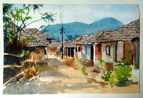 Indian Village By Artist Akash Chavan Watercolor Paintings