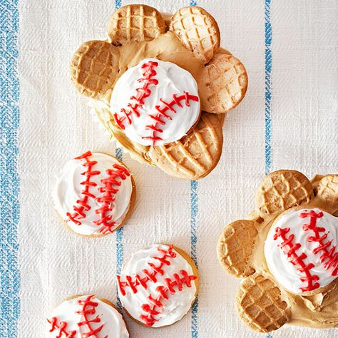 Baseball Glove Cupcakes with nutter butters!