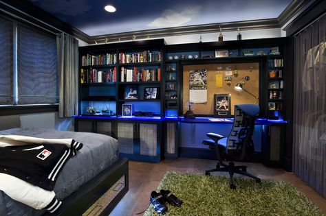 Cool Room Designs for Teenage Guys with Mesmerize Home Decorations: Cool Room Designs For Teenage Guys With Platform Bed And Wall Desk And Shelves Also Shag Rug Plus Sport Theme And Window Treatments Plus Lighting Fixtures In Modern Kids Room Design