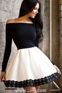 موديلات فساتين سهرة قصيرة 2018 Long Sleeve Skater Dress Lace Skater Dress Homecoming Dresses