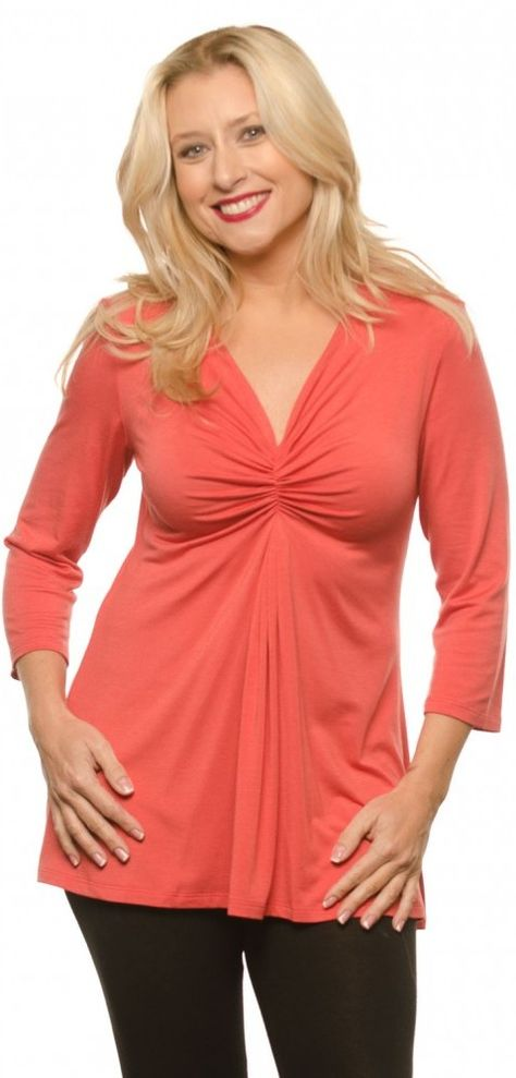 orange modal casual top at a good price - (article) - http://www.boomerinas.com/2013/07/18/micro-modal-tops-covered-perfectly-fits-women-over-50-60/