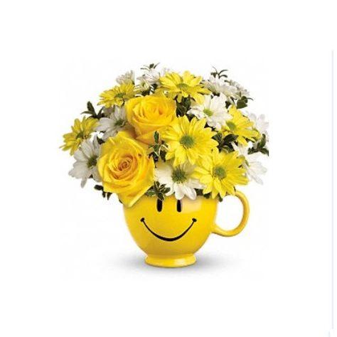 Mazzo Di Fiori Emoticon.Smiley Face Mug Fiori Di Compleanno Bouquet Di Compleanno