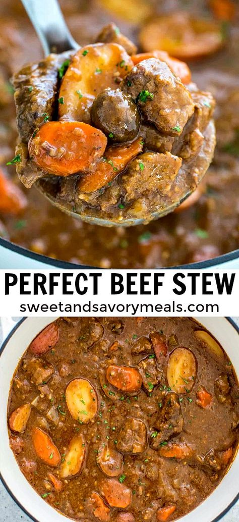 How to Make Beef Stew [Video] - Sweet and Savory Meals - - Beef Stew is easy to make with tender fall apart beef and hearty vegetables. It is super flavorful, rich, and PERFECT for cold days. Fall Dinner Recipes, Fall Recipes, Crockpot Recipes, Cooking Recipes, Healthy Recipes, Beef Soup Recipes, Pumpkin Recipes, Healthy Baking, Dinner Ideas
