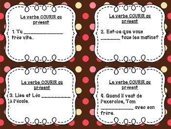 Cartes A Ta Ches Verbe Courir Au Pra C Sent De L Indicatif French Teaching Activities Teaching French Core French