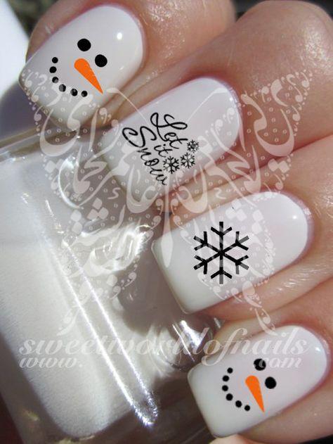 Christmas Xmas Nail Art Snowing Snowflakes Snowman Water Decals Nail Transfers Wraps