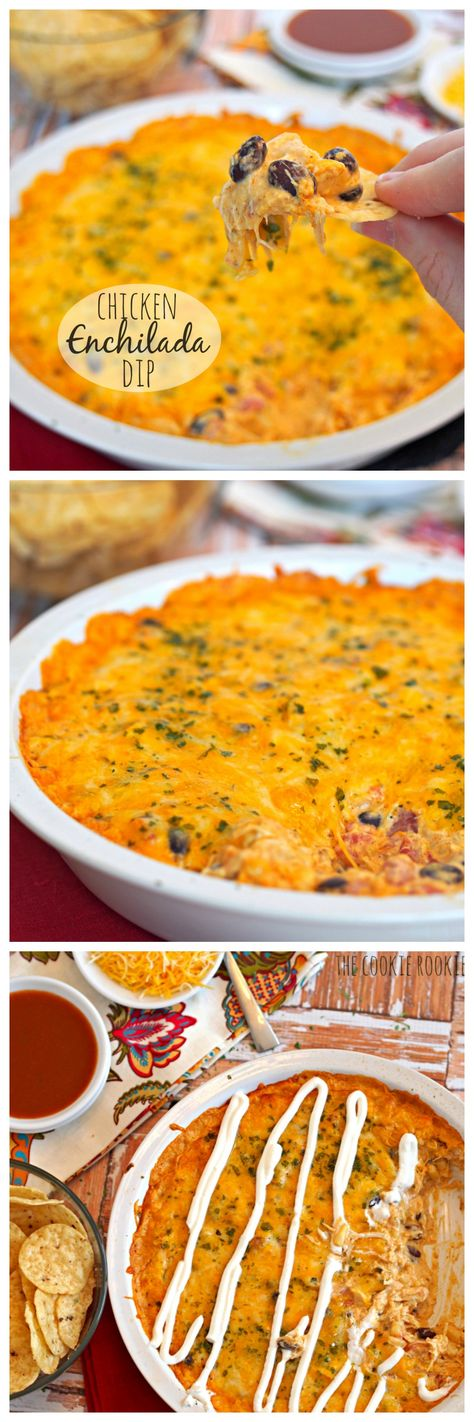 Cheesy Chicken Enchilada Dip is the easiest and best dip ever