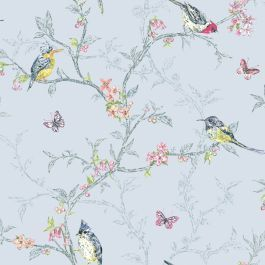 Phoebe Birds Wallpaper Blue World Of Wallpaper 50140 Teal Wallpaper Shabby Chic Wallpaper Bird Wallpaper