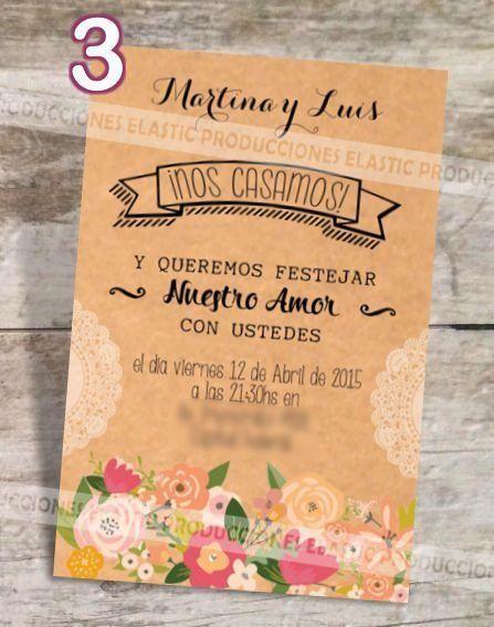 Invitaciones Tarjetas Bodas Casamiento Vintage Country 7