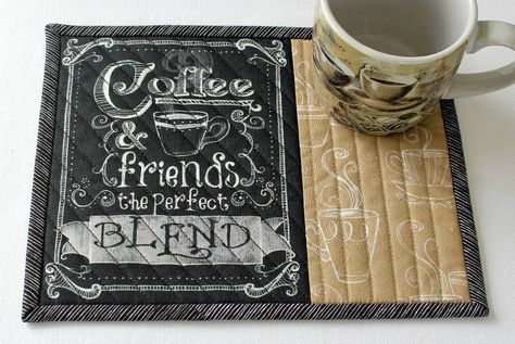 Coffee Mug Rug Coffee Quote Blend Quilted Snack Mat Black Tan With Words Candle Mat Quiltsy Handmade By Redneedlequilts On Mug Rug Coffee Quotes Mug Rugs
