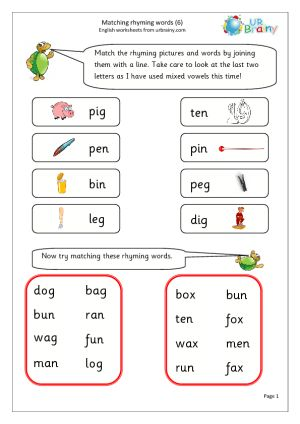 Free English Worksheets For Year 1 | Rhyming words, Rhyming ...