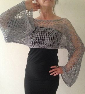 Cropped sweater, cropped grey sweater, cropped top, cropped summer top, light weight top, loose knit wrap, boho crop top, crochet sweater I made this sweater using a soft blend of cotton and acrylic yarn. It feels so soft and silky. Its lenght is about 11 and width from one arm end to another is