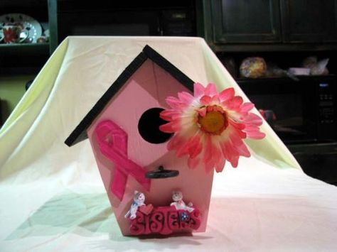 Breast cancer birdhouse