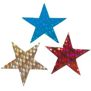 Holographic stars add shimmer and pizzaz to your prom or homecoming theme's background and other decorating needs. Color holographic 5-point stars are available in red, blue or gold diamond pattern, as well as silver smooth, sparkle, or diamond pattern and come 12 per package.