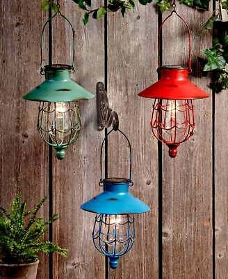 Rustic Distressed Finish Hanging Solar Led Lighted Caged Lantern Light 3 Colors Ebay In 2020 Solar Hanging Lanterns Solar Lanterns Outdoor Lanterns