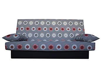 Best Sleep Canape Clic Clac 2 Coussins Decoratifs Housse A Motifs Tons Gris 190 X 87 X 91 Cm Meuble Angle Ikea Meuble Salle De Bain Ikea Coussin Decoratif