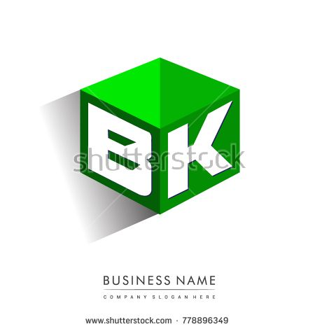 Letter Bk Logo In Hexagon Shape And Green Background Cube