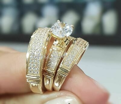 Details about  /Men/'s 2.00 Ct Round Cut Diamond Three Stone Wedding Band Ring 14k Yellow Gold FN