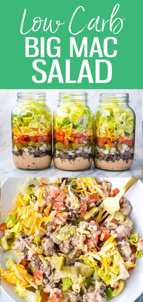 Meal Prep Low Carb Big Mac Salad Jars – The Girl on Bloor These Meal Prep Low Carb Big Mac Salad Jars are a delicious lunch option and a healthier way to satisfy your cheeseburger cravings – and the Big Mac dressing is easily made with pantry staples! Easy Meal Prep, Healthy Meal Prep, Healthy Eating, Easy Meals, Eating Clean, Meal Prep For The Week Low Carb, Meal Prep Salads, Fitness Meal Prep, Clean Eating Breakfast