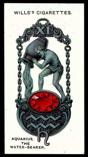 Cigarette Card - Aquarius, The Water Bearer #zodiac #aquarius