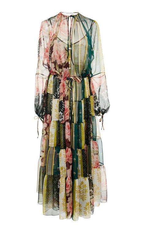 Patchwork-Effect Floral-Print Silk-Chiffon Dress by OSCAR DE LA RENTA Now Available on Moda Operandi