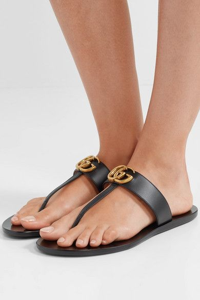 7dbb9f70a Gucci - Marmont logo-embellished leather sandals in 2019 | Wish List ...