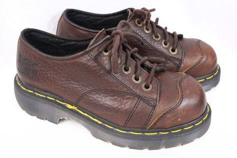 DOC DR MARTENS 7A25 Industrial Brown Leather Steel Toe Work Shoe Women UK 5 US 7 #DrMartens #WorkSafety