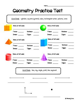 Geometry Practice Test--Elementary Math | 4 Little Baers -- Teachers