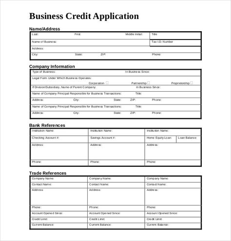 business to business credit application