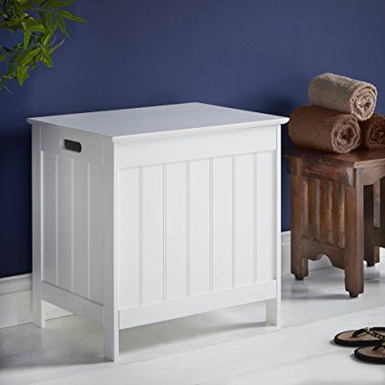 Vonhaus Laundry Hamper White Colonial Style Washing Basket With
